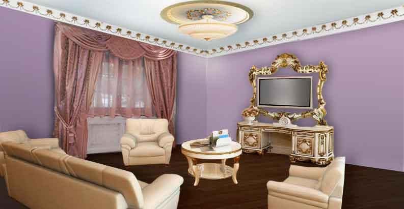 Гостиная с розовыми шторами