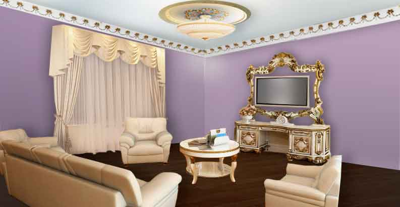 Гостиная с белыми шторами
