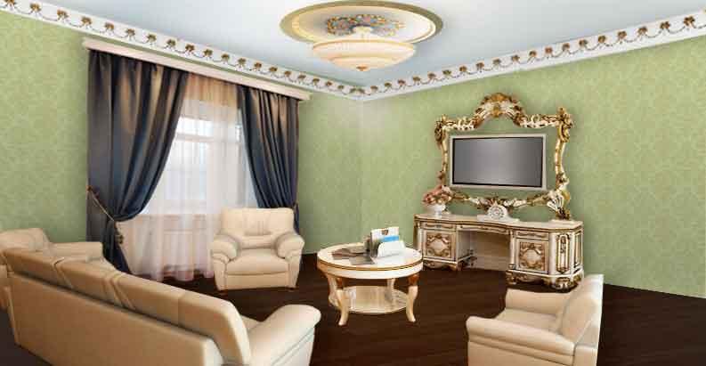 Гостиная с серыми шторами