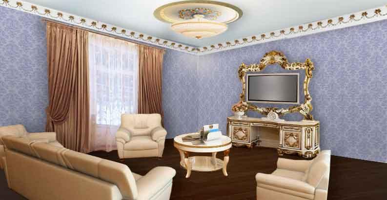 Гостиная с светло-коричневыми шторами