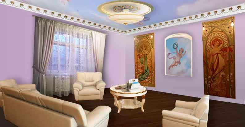 Гостиная со светло-серыми шторами