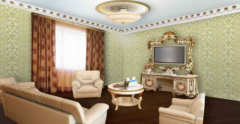Гостиная с золотыми шторами