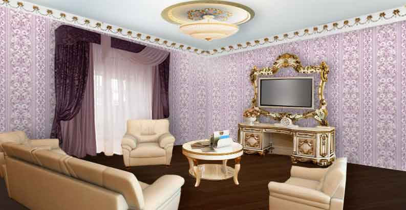 Гостиная с фиолетовыми шторами