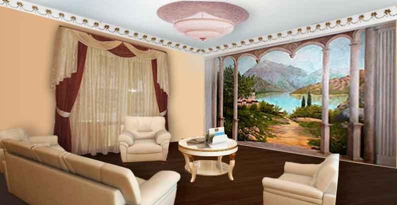 Гостиная с коричневыми шторами