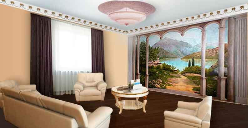 Гостиная с фиолетово-серыми шторами