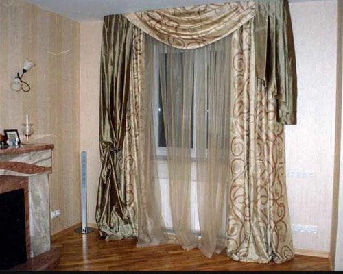 Стиль штор Арт-деко, шторы асимметричные с крупным геометрическим узором