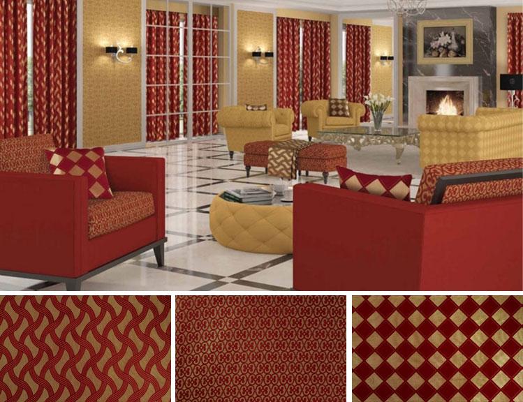 Декорирование зала красным текстилем