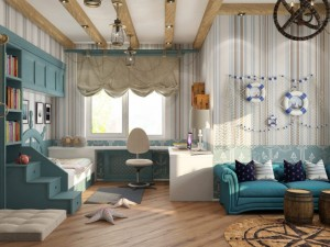 Морская тематика в комнате для подростка