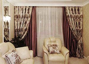 Шторы в спальню ШГ0041 классические, двухцветные, белые, коричневые с узором