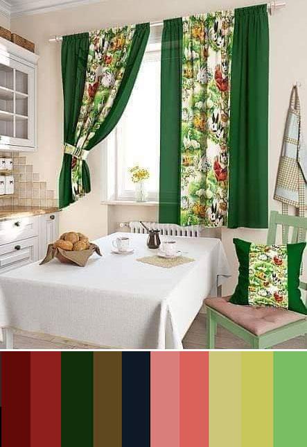 Шторы зеленого цвета. Сочетание с другими цветами