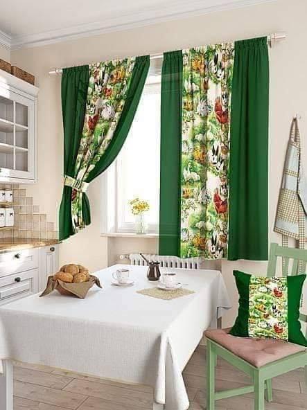 Зеленые портьеры для кухни