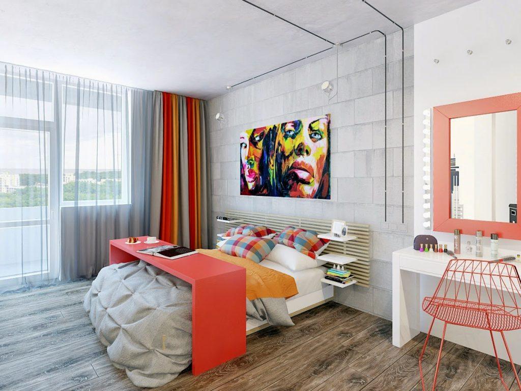 Текстильные изделия с элементами красного и желтого цветов в спальне