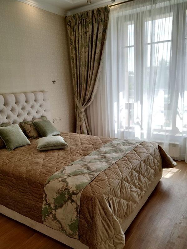 Шторы и текстильв спальню ШСП0044, коричневые, классика