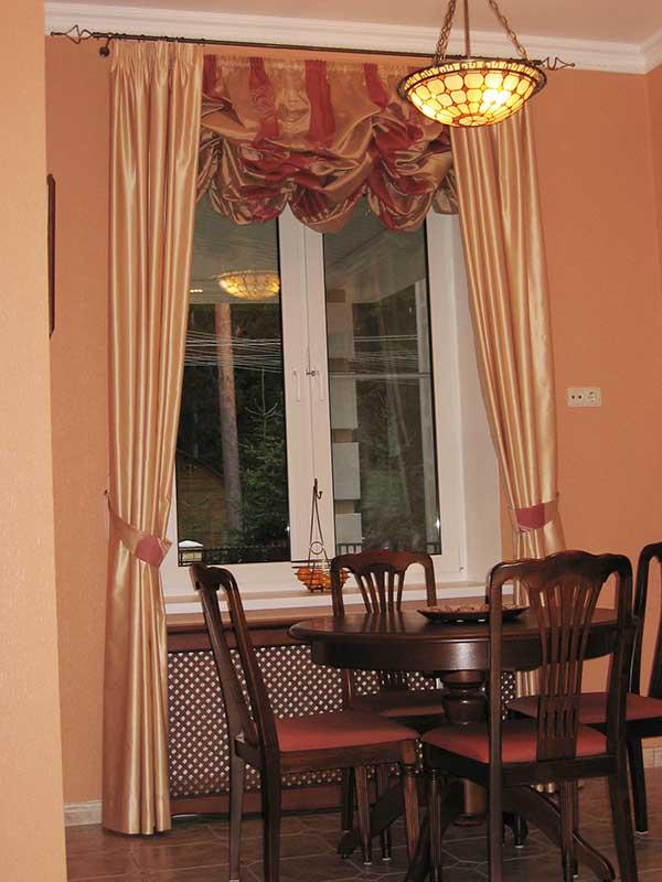 Шторы в столовую ШСТ0008, розовые с подхватами, английская красная штора