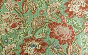 Зеленая ткань с цветочным узором