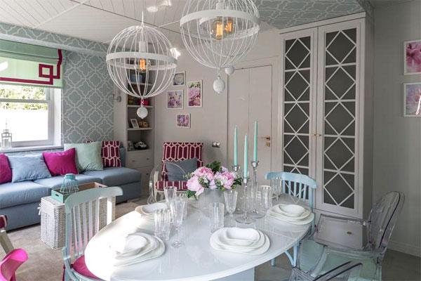 Оригинальный дизайн столовой-гостиной