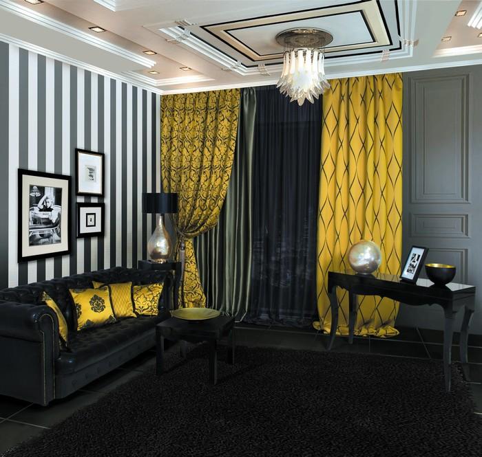 Черно-белая гостиная с желтым текстилем