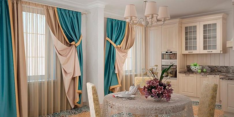 Комбинированные, двухцветные, дизайнерские шторы в гостиной