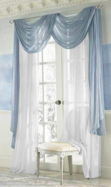 Дизайнерские, голубые шторы в гостиную