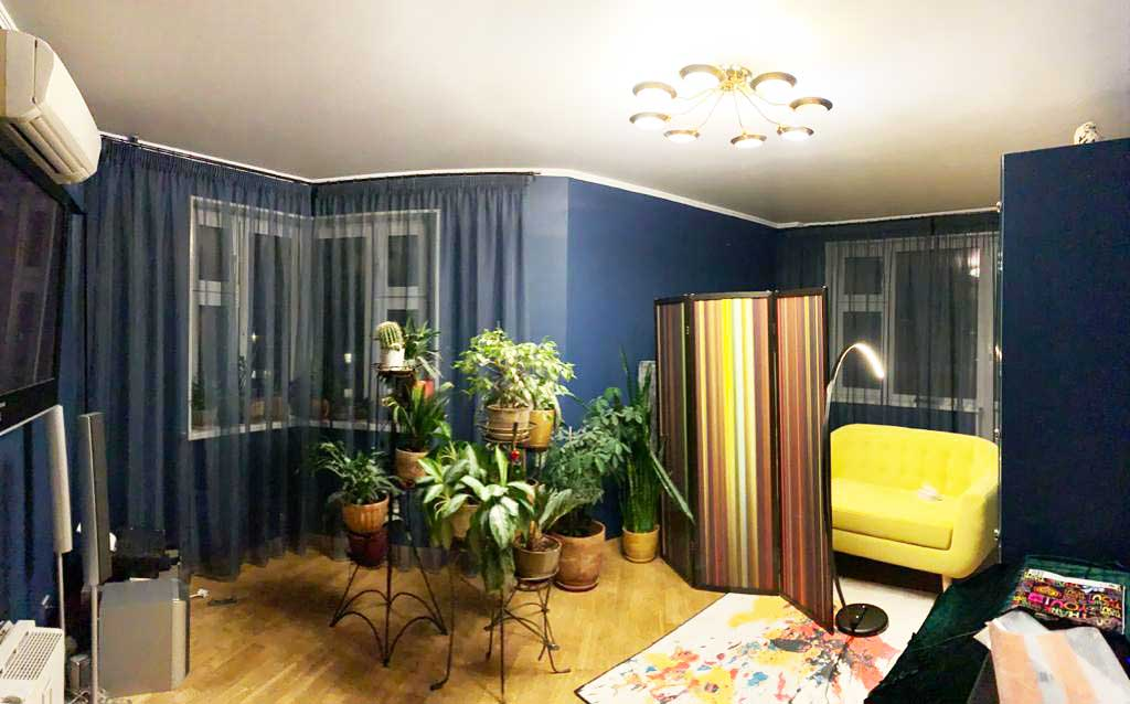Шторы в гостиную ШГ071. Синяя полупрозрачная, гардина для современной гостиной