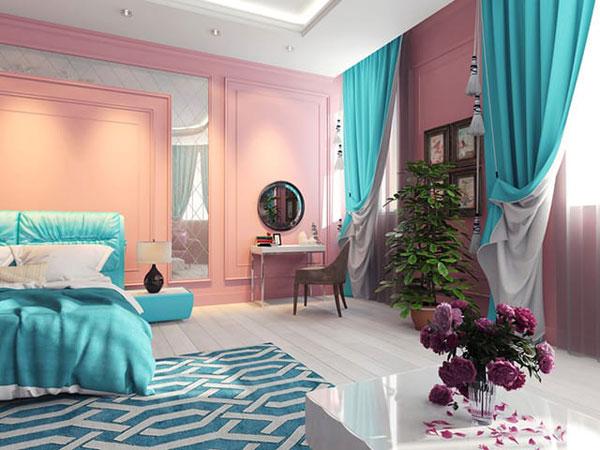 Бирюзовый и розовый в интерьере