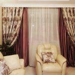 Шторы в гостиную ШГ0028, двухцветные: коричневые и кремовые с узором, классика