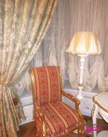 Шторы в гостиную ШГ0040, белые с цветочным узором