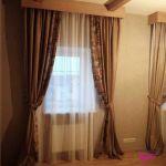 Шторы в гостиную ШГ0050, коричневые, двухцветные с геометрических узором