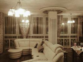 Шторы в гостиную ШГ0017, белые с коричневым узором, шторы в эркер + однотонный тюль