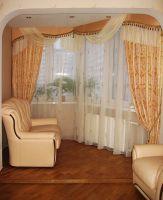 Шторы в гостиную ШГ0030, дизайнерские шторы , золотистые с узором и ламбрекеном
