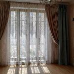 Шторы в гостиную ШГ058. Комбинированные коричнево-серые, классика