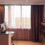 Шторы в кабинет ШКАБ0017, современные коричневые с узором